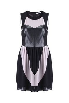 PU Panel Detailed Color Block Dress