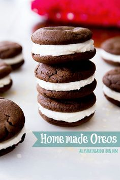 Homemade Oreos are so easy to make from scratch! Get the recipe at sallysbakingaddiction.com
