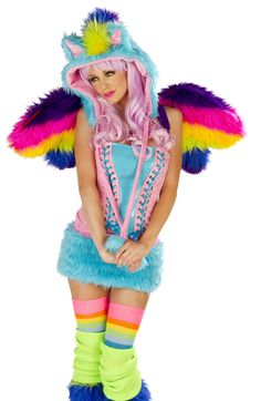 Rainbow Pony Corset and Skirt Sexy Costume   Totally Costumes