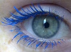 Electric Blue Eye Lashes #makeup #lashes #blue #electric - This is one of the coolest things I've seen in a long time. All my friends know that I LOVE electric blue! eye makeup, eyelashes, eye lash, blue mascara, blue eye, beauti, electric blue, blues, electr blue