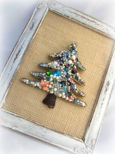 Bejeweled Christmas Tree Wall Art Jewelry by northandsouthshabby, $45.00
