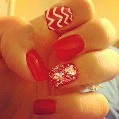 Christmas nails pretty bling red nails