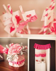 Pink straws with ribbon and heart flags