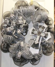 Black and Silver Mesh Cross Wreath by southernchicbyle on Etsy, $69.95
