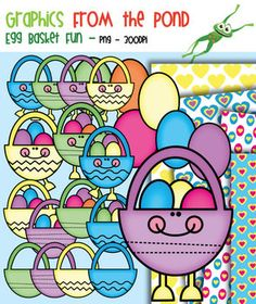 Egg Basket Fun - Clipart for Teachers and Teaching