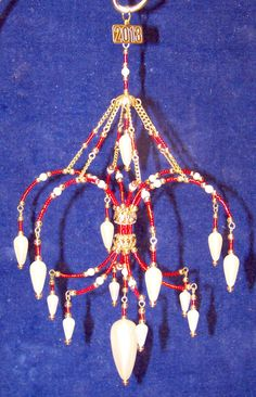 Ruby Red beaded Suspended Chandelier ornament with Pearls.