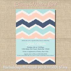 Modern Chevron Baby Girl Shower Invitation, Pink & Navy 5x7 printable. $14.00, via Etsy. shower color, shower invitations, baby girl shower, babi shower