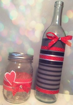 Easy Valentine crafts with Mason Jars and Wine Bottles available on our website: http://www.lightsforalloccasions.com/c-400-bottles-jars.aspx #valentine #valentinesday #jars #bottles #diy