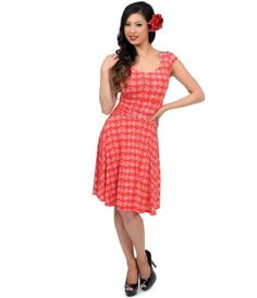 Red & White Bicycle Flare Dress