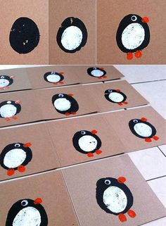 Potato print penguins are easy and cute homemade Christmas cards that the kids can make!