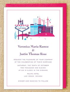 Helo Lucky visiting Las Vegas wedding invite.