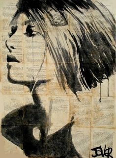 "Saatchi Online Artist Loui Jover; Drawing, ""flower"" #art I love the texture of the hair made with ink!"