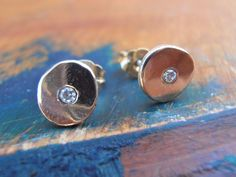14k yellow gold diamonds - 6.5mm stud earrings, dote earrings, pure gold - hand fabricated by miyora on Etsy