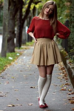 khaki skirt and knee socks