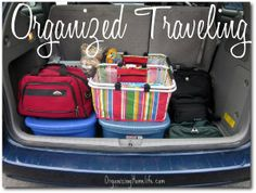 Family vacation--staying multiple places???  Have 1 rubbermaid for each destination & just pack everyone's clothes together.  Use sacks to hold kids outfits with socks, hair bands, etc together