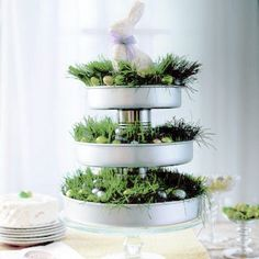 Gorgeous tiered cake pan centerpiece for Easter.  I think I need one of these!