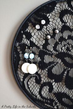 Black Lace Earring Holder