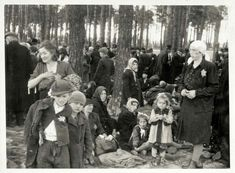 """Jews who were classified as """"not fit for work"""" waiting in a grove outside Crematorium IV before they were to be gassed. At this point, the Jews were exhausted and in a state of shock from the horrors of the journey and the selection process that they had just endured. The vast majority had no idea what fate awaited them."""