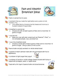 Fast and healthy breakfast ideas from UC Davis Children's Hospital