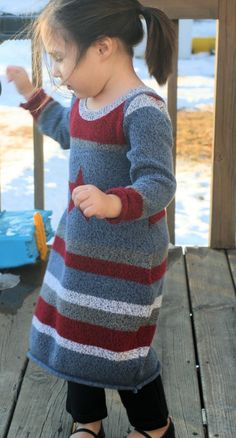 Repurposing adult sweater into child's sweater dress
