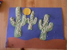 Cactus with Rice. plant, cacti, kids rodeo crafts, scene, preschool rodeo crafts, cactus crafts for kids, rodeo crafts for kids, kids crafts cactus, desert crafts for kids