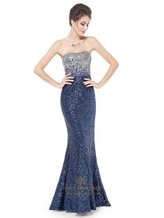 Sparkly Sequin Long Prom Dresses 2015,Glitter Women's Strapless Fit And Flare Sequins Long Party Dress | Fancy Bridesmaid Dresses