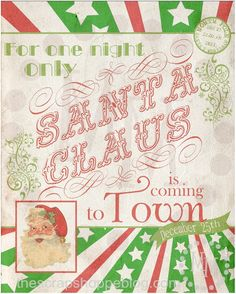 Free Printable Santa Claus 1900s Vintage Broadway Poster