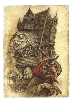 Baba Yaga or Baba Roga (also known by various other names) is a haggish or witchlike character in Slavic folklore. She flies around on a giant pestle, kidnaps (and presumably eats) small children, and lives in a hut that stands on chicken legs. In most Slavic folk tales, she is portrayed as an antagonist; however, some characters in other mythological folk stories have been known to seek her out for her wisdom, and she has been known on rare occasions to offer guidance to lost souls.