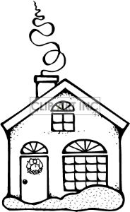 Clip art of Black and White Christmas House with Smoke Comming out of the Chimney. | 143854