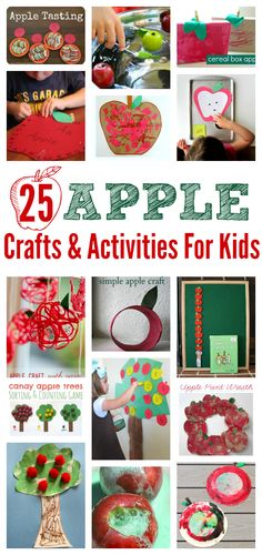List of 25 apple crafts and activities for tot school, preschool, or just for fun! #apples #fall #kidcrafts #backtoschool