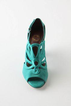 Turquoise peep toe