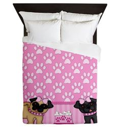 Pug Cuties Pink Stripes and Paws Queen Duvet on CafePress.com