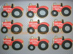 Tractors for Baby Boy - For a baby shower! The parents own a brand new tractor and are very proud of it as well, so the client wanted to incorporate that. How cute!