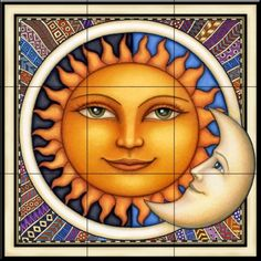 Celestial Sun Face and Moon Ceramic Tile