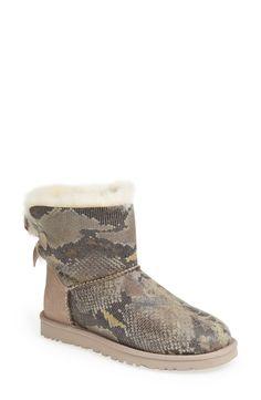 A twist on a classic | Ugg Australia 'Mini Bailey Bow' snake print boot.