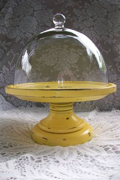 Shabby Chic, French Country Decor, Yellow Candle holder Pedestal Display with Glass Cloche Dome, Distressed, Rustic Decor.