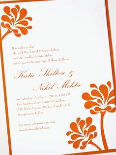 orange wedding invite