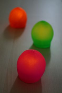 Blob lights. Made out of battery tea lights and cut balloons. Gives off a soft glow. Used for Halloween, or other party.