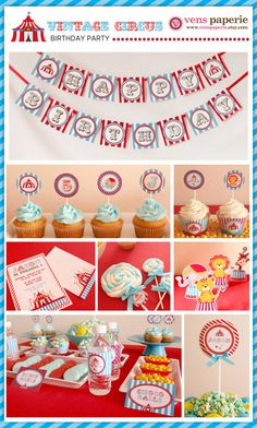 vintage carnival circus party, DIY printable decoration by venspaperie