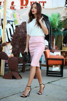 Ring My Bell: Pink Lady.  Skirt: Topshop. Jumper/Sweater: Topshop. Jacket: Balenciaga. Sandals: Saint Laurent. Clutch: Alexander Wang.