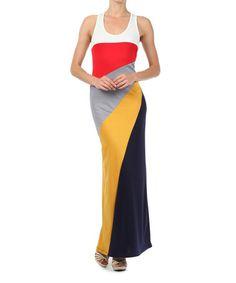 Red & Yellow Color Block Maxi Dress #zulilyfinds
