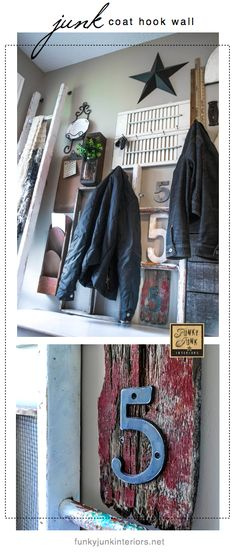 Wall art? Junk storage? Coat hooks? All of the above! A fun (brave) way to HANG UP THOSE COATS in the front entry. :) via Funky Junk Interiors