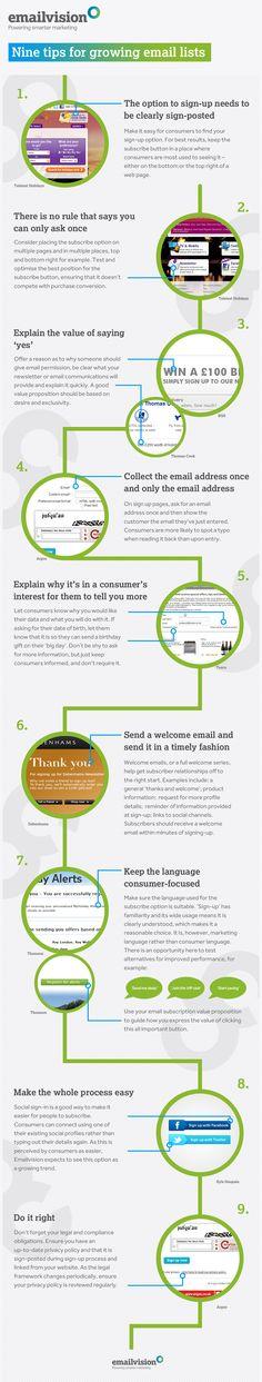9 consejos para listas de email #infografia #infographic #internet #marketing