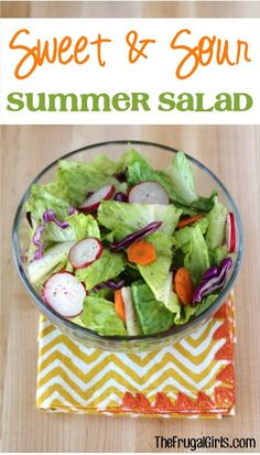 Sweet and Sour Summer Salad Recipe! ~ from TheFrugalGirls.com #salads #recipes #thefrugalgirls
