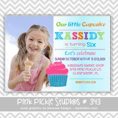 Our Little Cupcake Girl Personalized Party Invitation-digital party invitation, birthday, shower, announcement, printable, print, diy,cupcake, photo