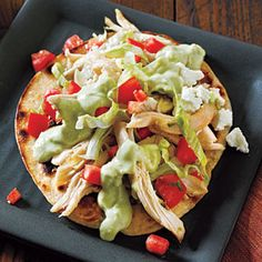 Chicken Tostadas and Avocado Dressing | CookingLight.com Make with the CL recipe for Mexican rice
