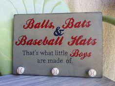 baseball signs, hat rack, thought, boy room