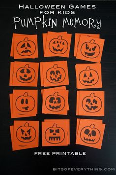 Pumpkin Memory Game and Other Halloween Games for Kids