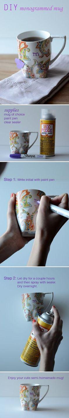 DIY: monogrammed mug