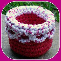 Cesto em Trapilhos ou Fio de Malha, Crochet Rag Basket